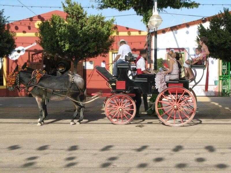 Calesa típica en la feria de Málaga